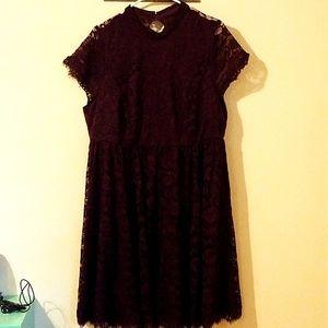 1719298af65 torrid Dresses - TORRID Deep Purple High Neck Lace Skater Dress